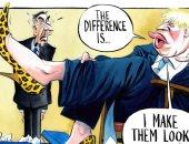 """بوريس جونسون يرتدى حذاء تريزا ماى فى كاريكاتير """"التايمز"""""""