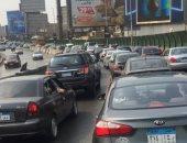 كثافات مرورية أعلى كوبرى 6 أكتوبر بسبب زيادة الأحمال