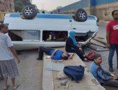 """إصابة 9 أشخاص فى حادث انقلاب ميكروباص على طريق """"طنطا - كفر الشيخ الدولى"""""""