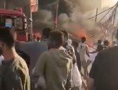 5 سيارات إطفاء تسيطر على حريق فى أحد الميادين بالعباسية ..فيديو