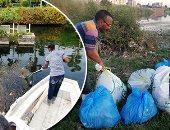صور.. مبادرة شبابية لجمع القمامة والبلاستيك من نهر النيل بأسوان.. المتطوعون: هدفنا الحفاظ على مكانة بلادنا سياحيا وحماية البيئة.. ويؤكدون: البلاستيك يتحلل فى 400 سنة ويضر الإنسان والكائنات المائية