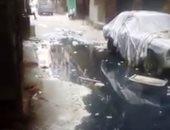 اضبط مخالفة.. مياه الصرف الصحى تغرق شارع محمد رضوان فى الخصوص (صور)