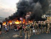 الجيش اللبنانى وقوى الأمن يحاولون فتح الطرق المؤدية إلى مطار بيروت