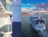 شاهد.. راكبة سفينة سياحية تعرض حياتها للخطر من أجل صورة