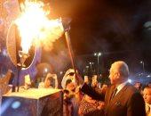 إيقاد شعلة النصر بمناسبة احتفالات السويس بإنتصارات 24 أكتوبر1973