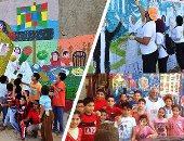 """الأطفال يشاركون 40 فنانا من 18 دولة للرسم على حوائط منازل البرلس.. براعم كفر الشيخ: تعلمنا الرسم واندمجنا مع الأجانب.. و""""حيطاننا بقت بتتكلم لغة الفن والجمال"""".. والرسامون: ننتظر الملتقى كل عام (صور)"""