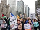 مظاهرات فى مدينة شيكاغو رفضا لزيارة ترامب وزوجته