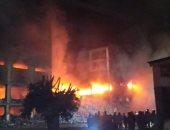 فيديو.. انهيار مبنى مصنع بقليوب بالكامل بعد صعوبة السيطرة على النيران