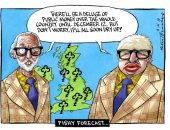 """توقعات انخفاض الإنفاق العام فى لندن بسبب """"الخروج"""" فى كاريكاتير التايمز"""