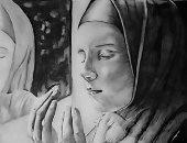 صور .. القارئ أحمد السباعى رسام يرسم الفرحة والحزن على الوجوه