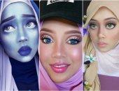 فنانة مكياج تستغل حجابها ببراعة لتقمص شخصيات الكارتون.. من أميرات ديزنى لأنابيل