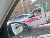 قارئ يرصد طفلا يقود سيارة نصف نقل علي الطريق الدائرى