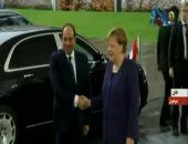 شاهد.. لحظة وصول الرئيس السيسى مقر المستشارية الألمانية للقاء ميركل