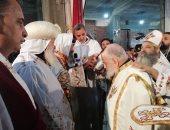فى عيد مارمينا.. أول قداس بكنيسة شهداء حلوان ورسامة قمص.. صور