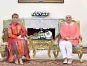 صور..انتصار السيسى: سعدت باستقبال زوجة رئيس المجر فى زيارتها الأولى لمصر