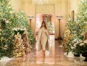 ميلانيا ترامب تتفقد أجواء الاحتفال بالكريسماس فى البيت الأبيض