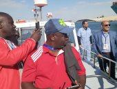 وفد الاتحاد الأفريقى للهوكى فى وجولة بحرية بقناة السويس