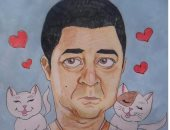 قارئة تشارك بلوحة للفنان مدحت صالح تظهر رحمته بالحيوان بعد فيديو إطعامه للقطط