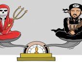 كاريكاتير سعودى.. داعش والشيطان طرفى ميزان الشر فى العالم