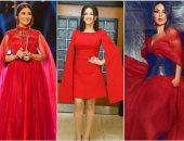 4 نجمات عربيات ارتدين الأحمر خلال الأسبوع.. فى رأيك مين أحلى؟