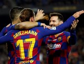 ميسي وسواريز وجريزمان فى هجوم برشلونة ضد اسبانيول بالدوري الاسباني