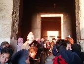 الشمس تتعامد على معبد قصر قارون بالفيوم.. فيديو وصور
