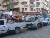 حملات لرفع الإشغالات بميدان الجيزة وشوارع الطالبية