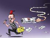 صاروخ وعى المصريين يهدد أطماع الديكتاتور التركى فى كاريكاتير اليوم السابع