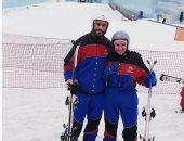 لقاء الخميسى وعبد المنصف يخوضان تجربة التزلج على الجليد