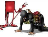 كاريكاتير صحيفة سعودية.. الإرهابيين رؤوس شياطين