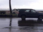 صور.. أمطار غزيرة على مناطق متفرقة بالإسكندرية