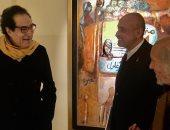 فاروق حسنى يزور معرض الفنان جورج بهجورى بالزمالك