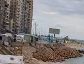 """""""المصايف بالإسكندرية"""": ردم جزء من شاطئ ميامى مؤقتا لمشروع حماية الشواطئ"""