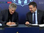 كيكي سيتين يوقع عقود تدريب برشلونة حتى 2022.. فيديو