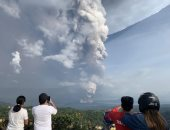 شاهد.. تصوير جوى يرصد ثوران بركان تال فى الفلبين