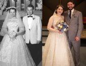 عروس ترتدى فستان جدتها فى حفل زفافها.. عمره أكثر من 60 عاما