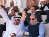 شاهد.. السيسى ومحمد آل نهيان يتابعان سباق الإبل بمهرجان شرم الشيخ التراثى