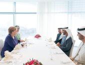"""محمد بن زايد بعد لقاء ميركل: نأمل أن يحقق """"مؤتمر برلين"""" تطلعات الشعب الليبى"""