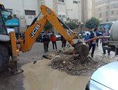 الانتهاء من إصلاح كسر ماسورة مياه أمام معهد القلب بالعجوزة.. صور
