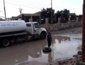 صور.. انطلاق حملة فتح شوارع أغلقتها مياه الأمطار فى العريش