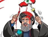 """كاريكاتير صحيفة إماراتية .. """" حسن نصر الله"""" وراء دماء لبنان"""