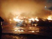 صور..تفحم 5 سيارات فى حريق جراج فيصل وانتداب المعمل الجنائى لبيان سبب نشوبه