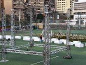 صور.. شاهد التجهيزات الأولى لحفل لـ هشام عباس قبل إقامته غدا