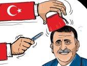 """كاريكاتير صحيفة إماراتية.. أردوغان يحتل ليبيا عن طريق """"السراج"""""""
