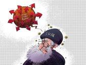 كاريكاتير صحيفة سعودية.. فيروس العقوبات الاقتصادية يضرب إيران