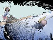"""كاريكاتير وكالة روسية.. ترامب يهرب من شبكة """"بيلوسى"""" فى قضية العزل"""