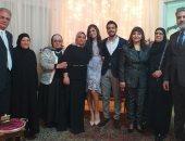 جمال عبد الناصر وفاطمة الكاشف يحتفلان بخطوبة ابنهما مهاب على فريدة عبية.. صور