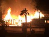 صور..حريق هائل فى مطعم وكافتيريا سياحى فى طريق البلاجات بالإسماعيلية