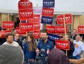 ترامب يوجه الشكر للمشاركين فى مؤتمر حملته الانتخابية فى نيو هامبشاير