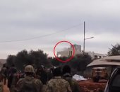 لحظة إطلاق الصاروخ المتسبب فى إسقاط مروحية للجيش السورى بريف إدلب